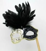 Black and Gold Feather Mask on Stick